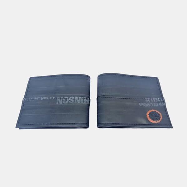 Moška črna denarnica ROWAN _ Črna Zračka iz recikliranih materialov v videzu usnja - dve