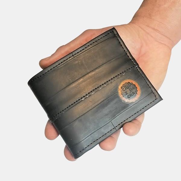 Moška črna denarnica ROWAN _ Črna Zračka iz recikliranih materialov v videzu usnja